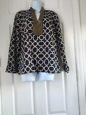 Charter Club Blue White Geometric Print Shirt Top Blouse Size L