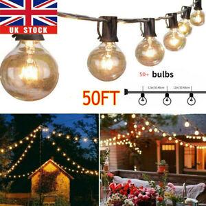 50 FT Outdoor Festoon Globe String Fairy Lights G40 Bulbs Garden Wedding Home UK