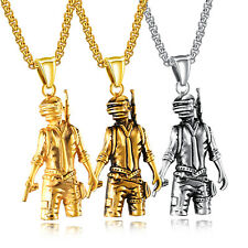 Mens Stainless Steel Cross Gold Silver Playerunknowns Battleground PUBG Necklace
