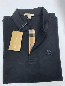 Burberry men's black  check placket polo shirt s m l xl 2xl