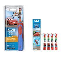 Braun Oral-B Vitalidad coches para niños cepillo de dientes eléctrico + 4 Cabezales Extra Nuevo