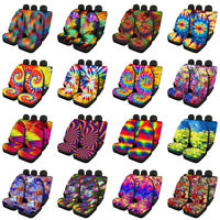 Fashion Tie Dye Car Seat Covers for Women Full Set Front & Rear Seats Cover Case