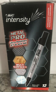 BIC Intensity Metal Pro Permanent Marker Fine Bullet Tip Jet Black 12 Count NEW