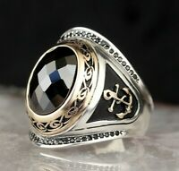 Ship Anchor Turkish 925 Sterling Silver  black onyx stone mens ring ALL SİZE us