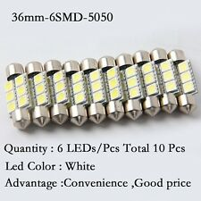 10Pcs White 36MM 6 LED 5050 Festoon Dome Map Car RV Light Interior Lamp Bulb 12V