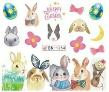 Nail Art Water Decals Stickers Transfers Easter Bunny Rabbits Floral Bows BN1254