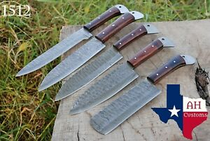 5 HAND FORGED DAMASCUS STEEL CHEF KITCHEN KNIFE SET WITH WOOD HANDLE AH 1512