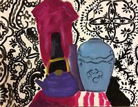 """tea time ""art contemporain nature morte peinture gouache sur papier 65x50"