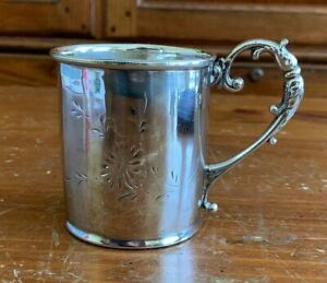 Antique Derby Silver Co Silverplate Childs Cup Engraved Flower
