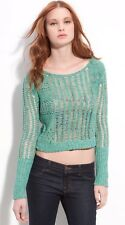FREE PEOPLE Goccia Open Knit Sweater Turquoise Green Cropped Linen Cotton Sz M