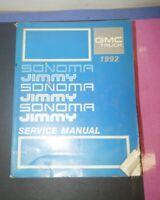 1992 GMC Sonoma Truck Jimmy OEM Service Shop Manual Repair Book