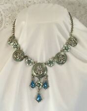 STUNNING STATEMENT PIECE VINTAGE NECKLACE MUSIC NOTES ON 5 DISCS BLUE SILVER