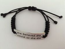BLACK CORD BRAIDED ADJUSTABLE SILVER PLATED STAMPED WORD BAR CHARM BRACELET