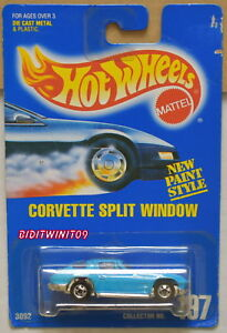 HOT WHEELS 1991 BLUE CARD CORVETTE SPLIT WINDOW #197 BASIC WHEELS LIGHT BLUE W+