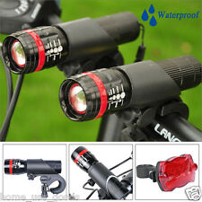 2x Red CREE Q5 Bike Bicycle Cycling Front torch Light SET + 5 LED Rear led Lamp