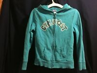 Girl's Justice Blue Gymnast Full Zip Hoodie Sweatshirt Size 8