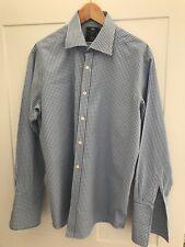 Hawes & Curtis Mens Blue & White checked shirt 16.5 collar 34 chest