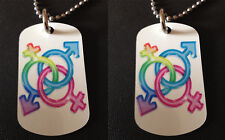 Rainbow Transgender / Gay Pride 2-Sided Color Photo Dog Tag Necklace / Keychain