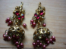 INDIAN RUBY CRYSTAL GOLD TONE EARRINGS BOLLYWOOD
