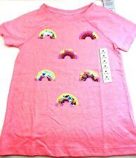 Size 7/8 Girls shirt Medium top rainbow sequin children kids Coral short sleeve