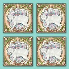 """Art Nouveau Cats Vintage Illustration Tile Ceramic Coasters (Set of 4) 4.25"""""""