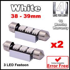 2 Piezas De 3 Led Smd 39mm 239 272 Canbus No Error Xenon Blanco número Placa Bombilla de luz