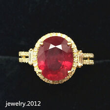 Estate 8*10mm Oval Cut Ruby Good Diamond Gorgeous Ring In Solid 14K Yellow Gold