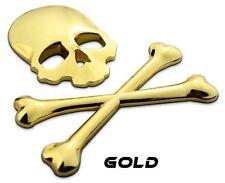 METALL Totenkopf Knochen 3D Aufkleber GOLD Skull Auto PKW Sticker Emblem