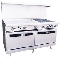 "New. Commercial 60"" Range with 4 Burners & 36"" Griddle. Made in USA by Ideal"