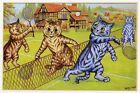 Louis Wain print SPORTING CATS PLAYING TENNIS funny cat illustration art