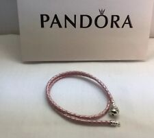 "Pandora "" Double Pink Leather "" Bracelet 40CM/16"" S925 Barrel Clasp  wrist 8"""