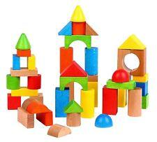 Lelin [50 Blocks] Wooden Building Shape Construction Blocks For Children Kids