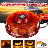12-24V LED Flashing Warning Beacon Strobe Light Magnetic Amber Car Truck Roof