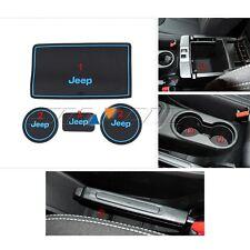 Blue Anti-dust Non-slip Interior door Cup Holder Mats For 09-16 Jeep Wrangler