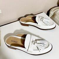 Vionic Reagan Leather Tassel Slip On Flat Mule Womens Size US 7 White New