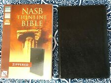 NOB! 1995 NASB Zippered Thinline Bible - Black Bond Leather Red Letter OP Rare J