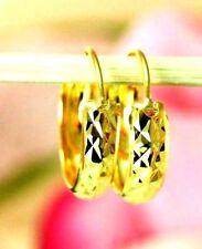 22K THAI BAHT DP YELLOW GOLD ~ PETITE DIAMOND CUT ETERNITY HUGGIE HOOP EARRINGS