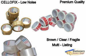 Premium Quality Low Noise BROWN CLEAR FRAGILE Parcel Packing Tapes 48mm x 66m