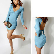NEW Sexy Womens Plunge V Bandage Club Wear to Work Mini Dress BODYCON BLUE Small