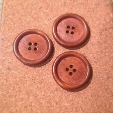 10 X 30mm Coffee Wooden Buttons - Australian Supplier