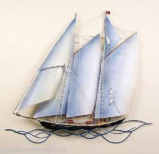 NAUTICAL ART DESIGNS Schooner Under Sail Handmade Boat Metal Wall Sculpture