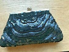 NEW : beaded & sequinned Black evening Bag , clutch or chain shoulder strap