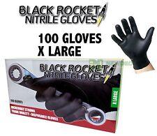 Black Disposable Nitrile Glove Rocket 1 box 100 Gloves -XLarge Mechanic Painting