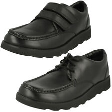 BOYS CLARKS CROWN TATE SENIOR HOOK & LOOP JUNIOR LACE FORMAL SCHOOL SHOES SIZE