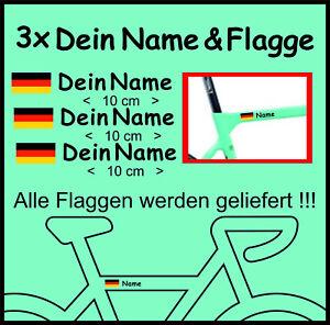 3 x Fahrrad Aufkleber I Mit Wunschname & Flagge I Cyclocross Bike Rennrad MTB