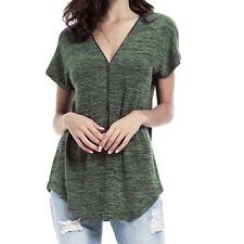 UK Women Summer Short Sleeve T-Shirt Blouse Casual Loose Ladies Tops Size 14-22