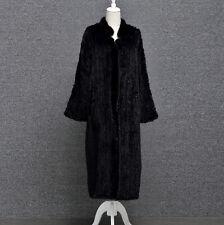 Damen 100% Echte gestrickte Nerz Pelz Lang Mantel Jacke Outwear Coat Bodenlang