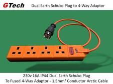 Caravan Hook-Up - 3m Cable Ártico-tierra doble IP44 Adaptador de corriente a 4-Way 13A