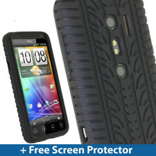 Black Silicone Tyre Skin Case Cover for HTC Evo 3D Android Smartphone Mobile