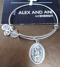 Alex and Ani Expandable Russian Silver Bracelet Added St. Christopher Charm  ❤